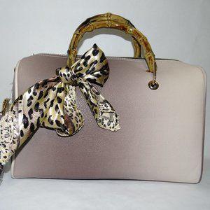 Purse duffel bag, cheetah bow